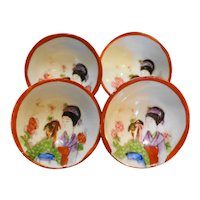 Geisha Girl Small Bowls Set of 4 Japan Porcelain