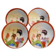 Geisha Girl Small Bowls Set of 4 Japan Porcelain
