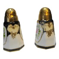 Nippon Pink Roses Hand Painted Salt Pepper Shakers