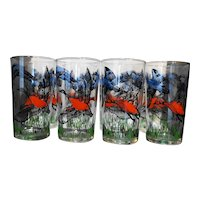 Libbey Red Blue Game Birds Flying Geese Tumblers Set of 8