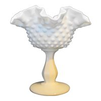 Fenton Hobnail Milk Glass Compote Double Crimped