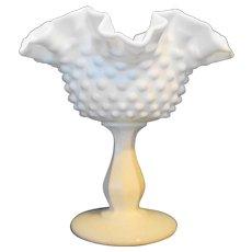 Fenton Hobnail Milk Glass Compote Double Crimped