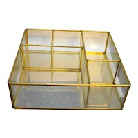 Glass Brass Mirror Divided Compartments Wall Hanging Box