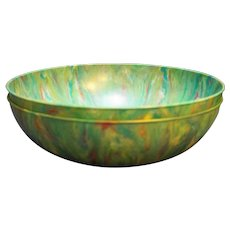 Tie Dye Spatter Marbled Thin Plastic Serving Bowls Pair Dark Green