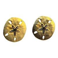 Sand Dollar Gold Tone Post Back Earrings