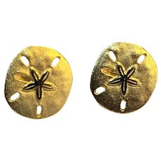 Sand Dollar Gold Tone Post Back Earrings