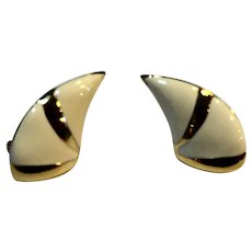Monet Cream Enamel Gold Tone Crescent Post Back Earrings