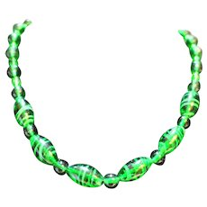 Emerald Green Art Glass Bead Necklace Swirls Facets Balls