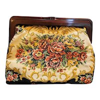 Tapestry Floral Purse Rootbeer Lucite Frame Clutch