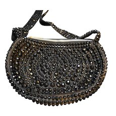 Roger Van S Black Beaded Half Circle Shoulder Bag Purse