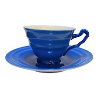 Royal Blue White Porcelain Demitasse Cup Saucer Made in Czechoslovakia