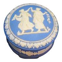 Jasperware Blue White Greek Mythology Scene Covered Trinket Box