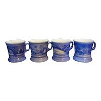 Blue Currier & Ives Porcelain Mugs Made in Japan Set of 4