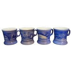 Blue Currier & Ives Porcelain Mugs Made in Japan Set of 4
