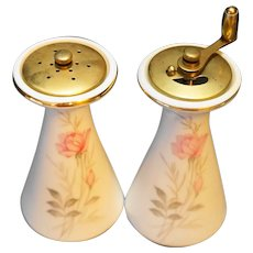 Camelot China American Rose Salt Shaker Pepper Grinder Pair