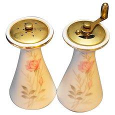 Camelot China American Rose Salt Shaker Pepper Grinder Pair