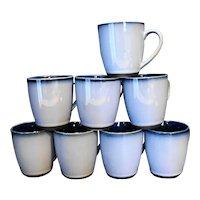Sango Nova Blue Mugs Set of 8