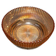"""Queen Mary Prismatic Pink Depression Glass Hocking 7 1/2"""" Deep Bowl"""