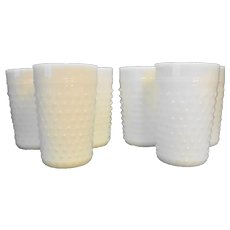 Anchor Hocking Fire King White Milk Glass Hobnail Tumblers Set of 6