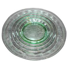 Green Depression Glass Footed Plate Rings Circles Optic Cut Flowers