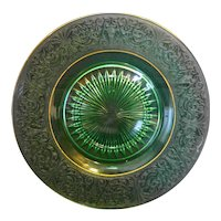 Green Depression Glass Etched Rim Elegant Plate Gold Trim