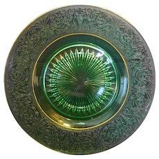 Green Depression Glass Etched Rim Elegant Plate Gold Trim