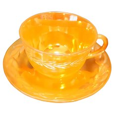 Laurel Peach Lustre Anchor Hocking Fire King Cup Saucer