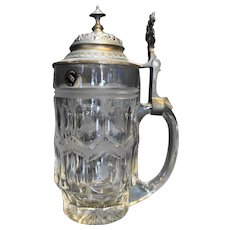 North Bohemian Glass HNH Cut Crystal Pewter Lid Stein