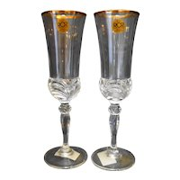Royal Crystal Rock Aurea Gold Champagne Glass Pair 8 1/2 IN