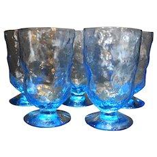 Morgantown Crinkle Light Blue Iced Tea Footed Tumblers Set of 5 5 IN