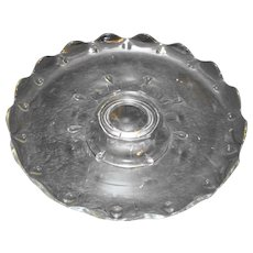 Indiana Glass Teardrop Clear Low Cake Stand Pedestal Foot Scalloped Rim