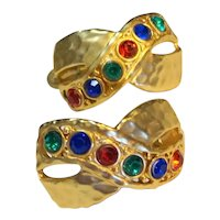 Rhinestone Medley Red Blue Green  Gold Tone X Ribbon Clip Earrings