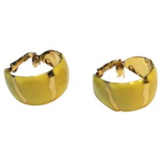 Yellow Enamel Gold Tone Hoop Clip Earrings