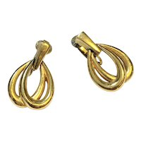 Crown Trifari Gold Tone Loop Dangle Earrings Clips