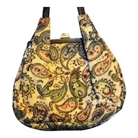 Paisley Tapestry Vintage Shoulder Bag Round Teardrop Shape