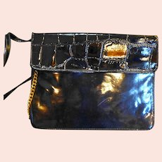Capezio Black Patent Envelope Convertible Clutch Gold Chain