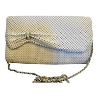 White Enamel Metal Mesh Clutch Convertible Purse Bow Detail