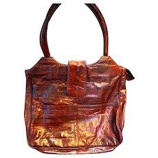 Dark Wine Red Burgundy Eelskin Tote Purse Shoulder Bag