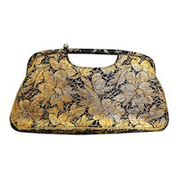 JR Florida Julius Resnick Metallic Brocade Floral Clutch Purse