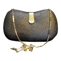 Black Buntal Buri Palm Straw Hard Shell Purse Convertible Clutch Philippines