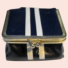 Navy Blue White Racing Stripes Vinyl Coin Change Purse