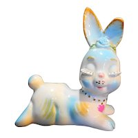 I W Rice Irice Imports Bunny Rabbit Figurine Cotton Ball Holder