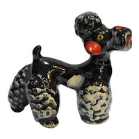 Redware Poodle Figurine Hand Painted Japan