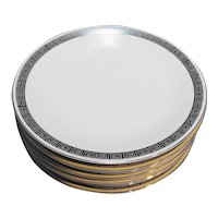 Harmony House Romaic Platinum Greek Key Dinner Plates Set of 7