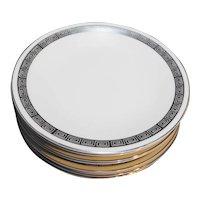 Harmony House Romaic Platinum Greek Key Salad Plates Set of 6