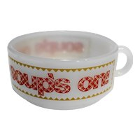 Glasbake Soup's On Soup Mug White Milk Glass Red Plaid