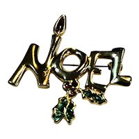 Noel Christmas Gold Tone Enamel Pin Holly Candle