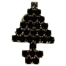 Christmas Tree Rhinestone Pin Green Red Gold Tone