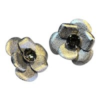 Silver Tone Pansy Rhinestone Clip Earrings