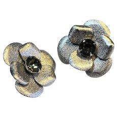 Silver Tone Pansy Rhinestone Clip Earrings